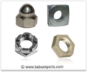 Dome Nut, Square Nut, Castle Nut, Check Nut fasteners manufacturers exporters india