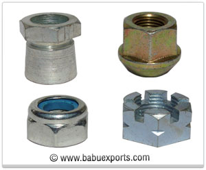Shear Nut, Wheel Nut, Nylock Nut, Slotted Nut fasteners manufacturers exporters india